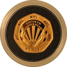 Gold Proof 1998 Fifty Pence Piece - NHS Boxed