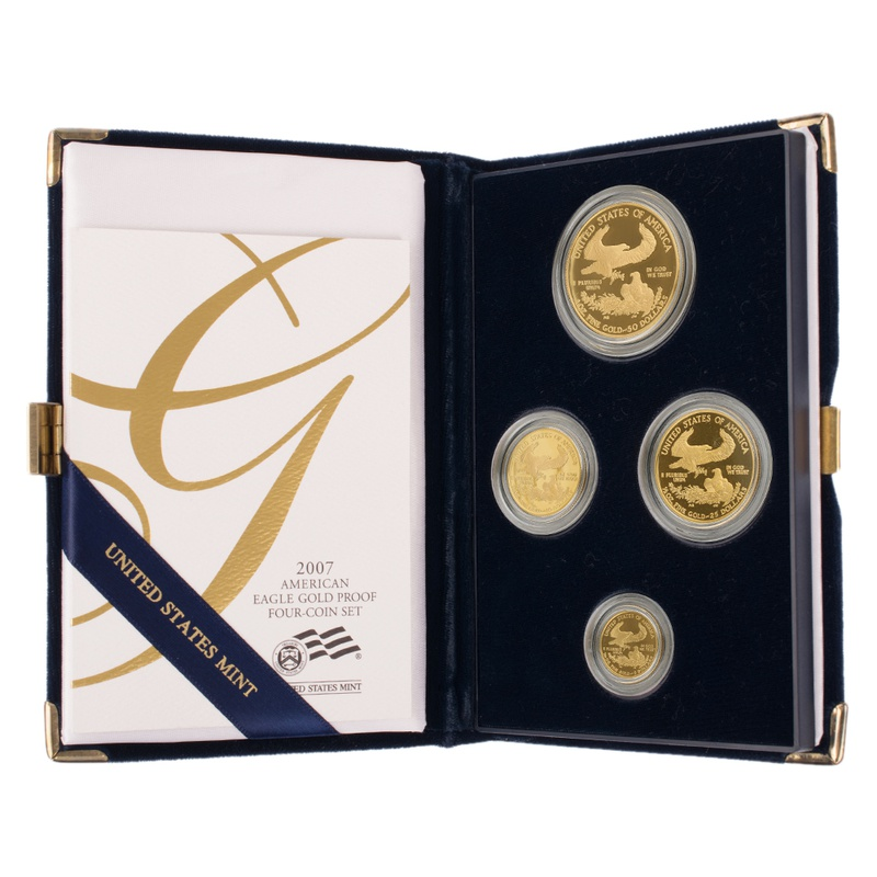 2007 Proof Gold Eagle 4-Coin Set Boxed