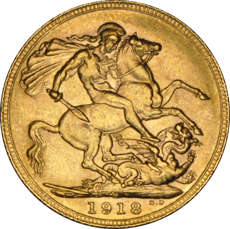 1918 Gold Sovereign - King George V - Canada NGC AU58