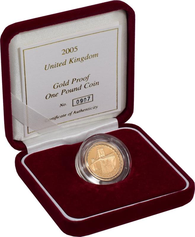 Gold Proof 2005 £1 One Pound Menai Bridge Boxed