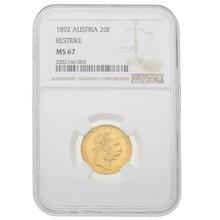 1892 Gold Austrian 20 Francs-8 Florin