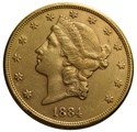 1884 $20 Double Eagle Liberty Head Gold Coin, San Francisco