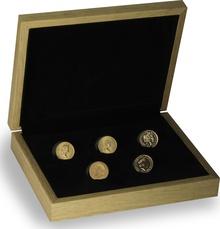 5 x Gold Sovereign Portrait Set Gift Boxed