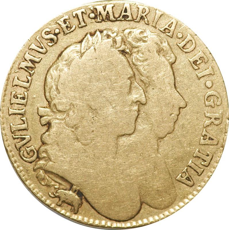 1689 William and Mary Gold Guinea - Fine