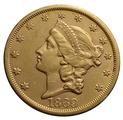 1869 $20 Double Eagle Liberty Head Gold Coin, San Francisco