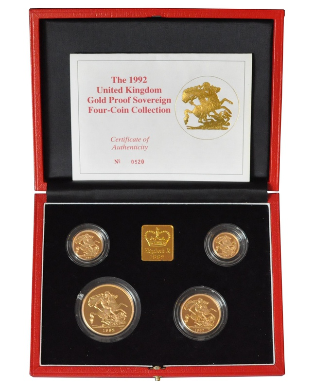 1992 Gold Proof Sovereign Four Coin Set Boxed