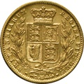 1872 Gold Sovereign - Victoria Young Head - Shield Back- S
