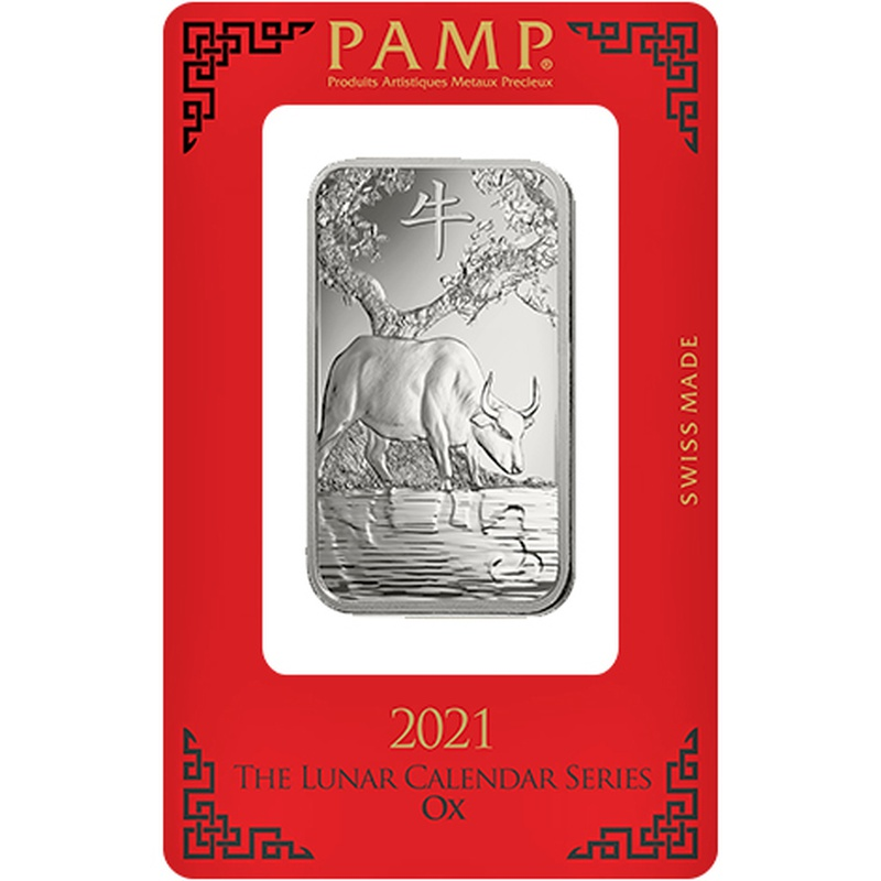 PAMP 2021 Year of the Ox 1oz Silver Bar