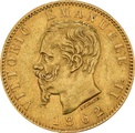 Italian 20 Lire Gold Coin Emanuele II