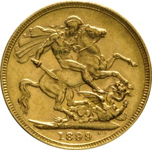 1899 Gold Sovereign - Victoria Old Head - M