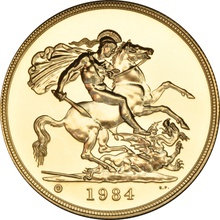 1984 - Gold £5 Brilliant Uncirculated Coin in Card