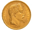 1862 20 French Francs - Napoleon III Laureate Head - A
