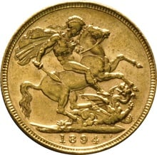 1894 Gold Sovereign - Victoria Old Head - London