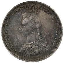 1887 Queen Victoria Silver Shilling - Good Very Fine