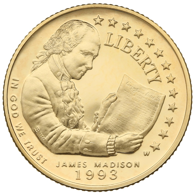 1993 Proof James Madison - American Gold Commemorative $5