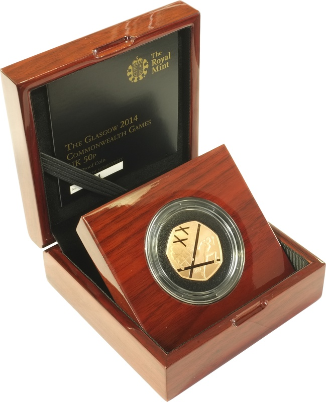 Gold Proof 2014 Fifty Pence Piece - the Glasgow 2014 Commonwealth Games Boxed
