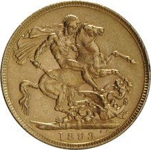 1893 Gold Sovereign - Victoria Old Head - London
