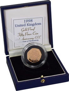 Gold Proof 1998 Fifty Pence Piece - EEC Boxed
