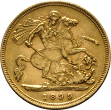 1899 Gold Half Sovereign - Victoria Old Head - London