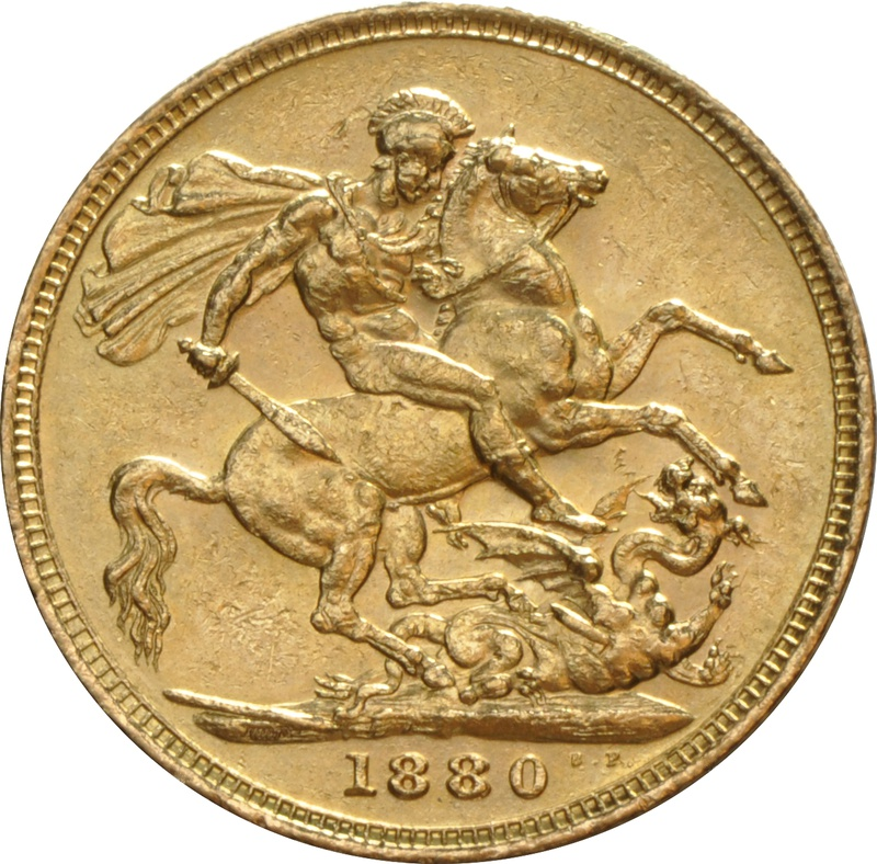 1880 Gold Sovereign - Victoria Young Head - London