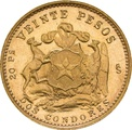 Chilean 20 Pesos Gold Coin 1926-1980