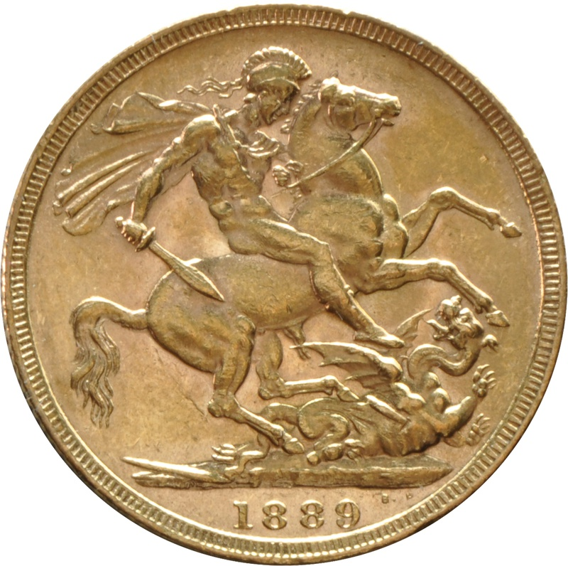 1889 Gold Sovereign - Victoria Jubilee Head - London