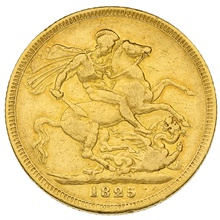 1825 George IV Laureate Head Gold Sovereign - Very Rare
