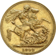 1882 Gold Sovereign - Victoria Young Head - S