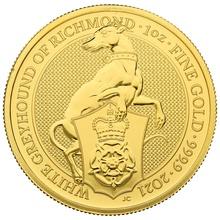 2021 White Greyhound of Richmond, Queen's Beast - 1oz Gold Coin