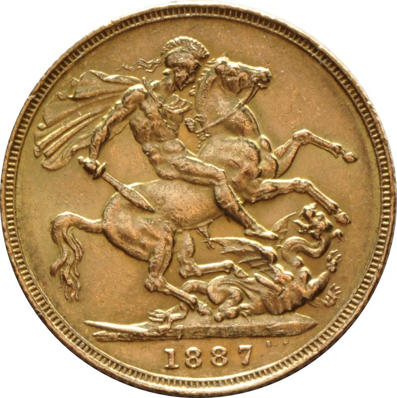 1887 Gold Sovereign - Victoria Jubilee Head - London