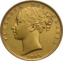 1883 Gold Sovereign - Victoria Young Head - Shield Back S