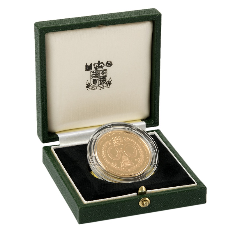 1991 - Gold £5 Proof Crown, Falkland Islands Charles Diana 10th Wedding Anniversary Boxed