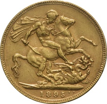 1895 Gold Sovereign - Victoria Old Head - London