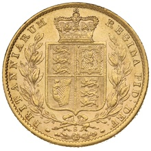 1873 Gold Sovereign - Victoria Young Head - Shield Back- S