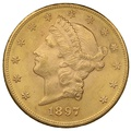 1897 $20 Double Eagle Liberty Head Gold Coin, Philadelphia