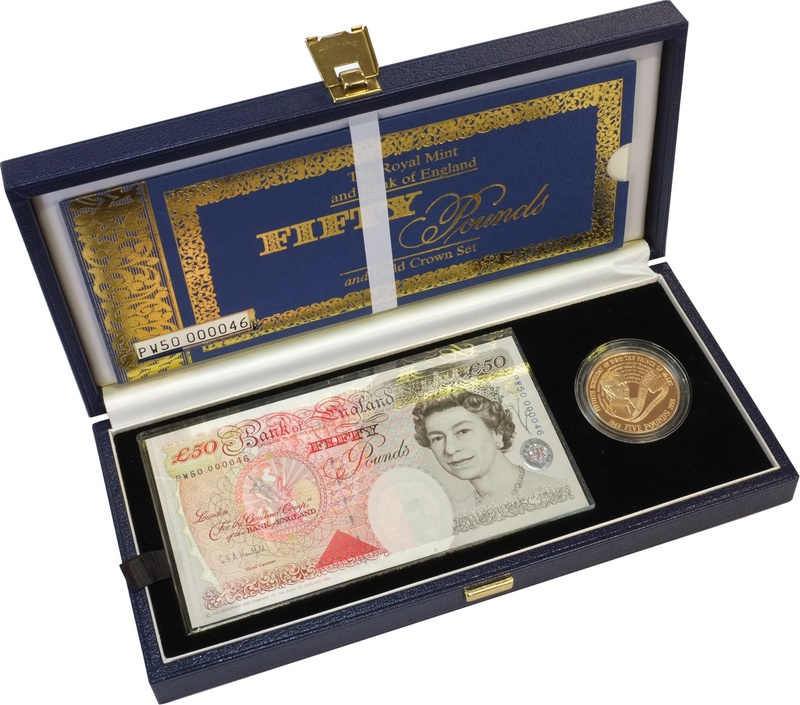 1998 - Gold £5 Proof Crown, with £50 note Boxed