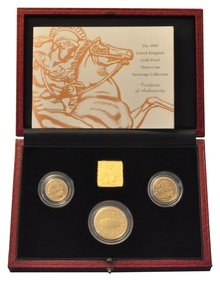 1999 Gold Proof Sovereign Three Coin Set Boxed