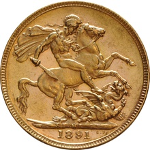 1891 Gold Sovereign - Victoria Jubilee Head - M