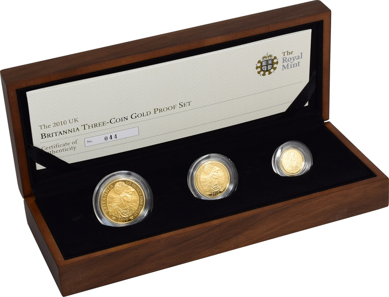 2010 Proof Britannia Gold 3-Coin Set Boxed