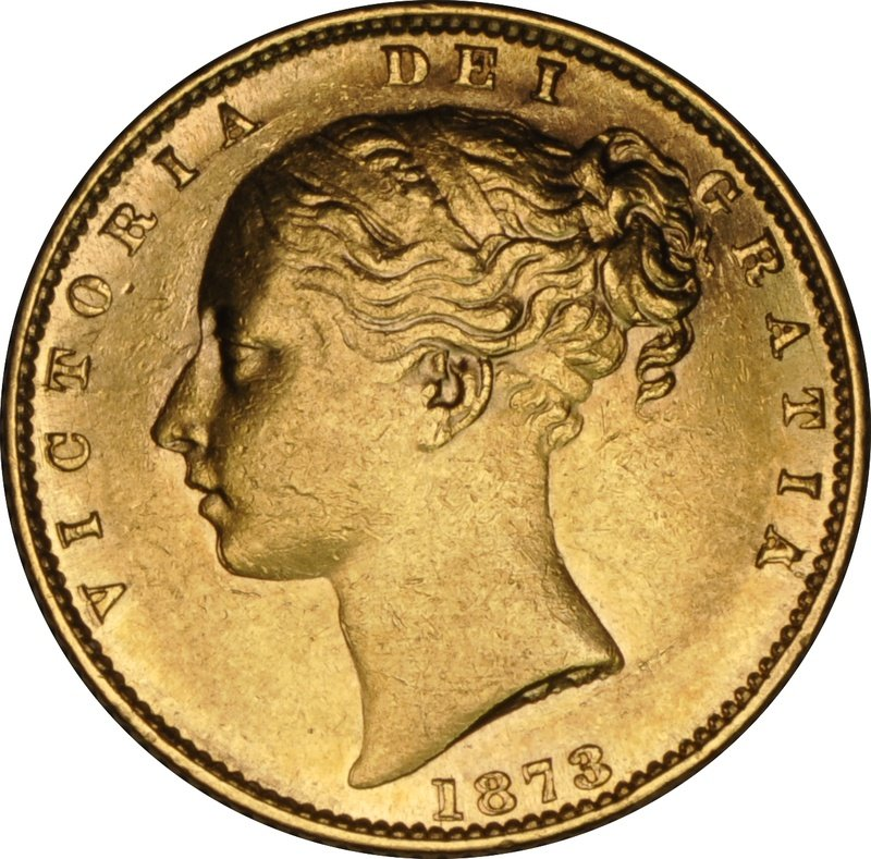 1873 Gold Sovereign - Victoria Young Head Shield Back - London