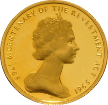 23.5ct 1965 Isle of Man Gold Half Sovereign Coin Bicentenary of the Revestment Act