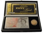 2000 - Gold £5 Proof Crown with £50 note, Millennium Boxed