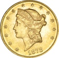 1878 $20 Double Eagle Liberty Head Gold Coin, Philadelphia