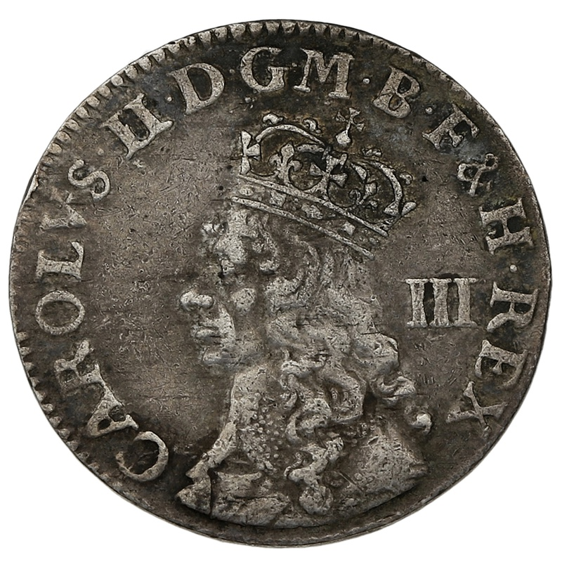 1660 - 1670 Charles II Silver Threepence Undated Issue