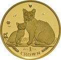 1oz Gold Isle of Man Manx Cats Crown Coin