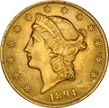 1894 $20 Double Eagle Liberty Head Gold Coin, Philadelphia