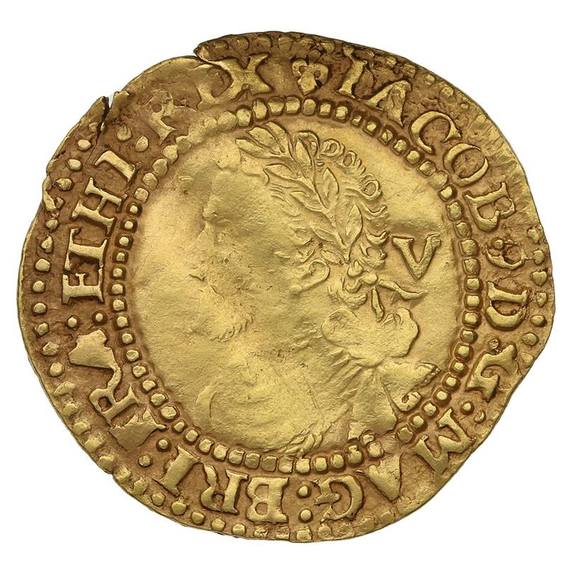 1604-5 James I Gold Quarter Laurel mm Lis
