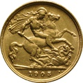 1905 Gold Half Sovereign - King Edward VII - London