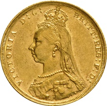1892 Gold Sovereign - Victoria Jubilee Head - M