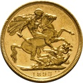 1893 Gold Sovereign - Victoria Old Head - S